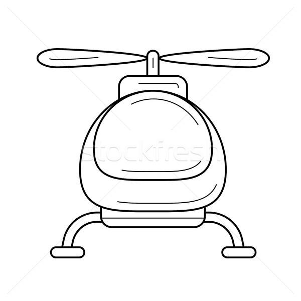 Helikopter vonal ikon vektor izolált fehér Stock fotó © RAStudio