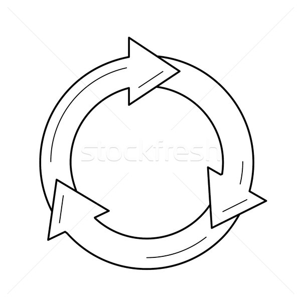 Reuse and refresh symbol vector line icon. Stock photo © RAStudio