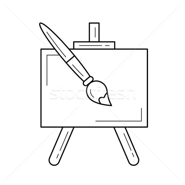 Festőállvány vektor vonal ikon izolált fehér Stock fotó © RAStudio