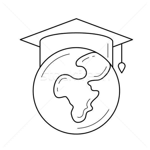 Globo graduação boné vetor linha ícone Foto stock © RAStudio