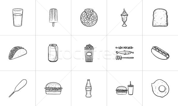 Food and drink hand drawn sketch icon set. Stock photo © RAStudio
