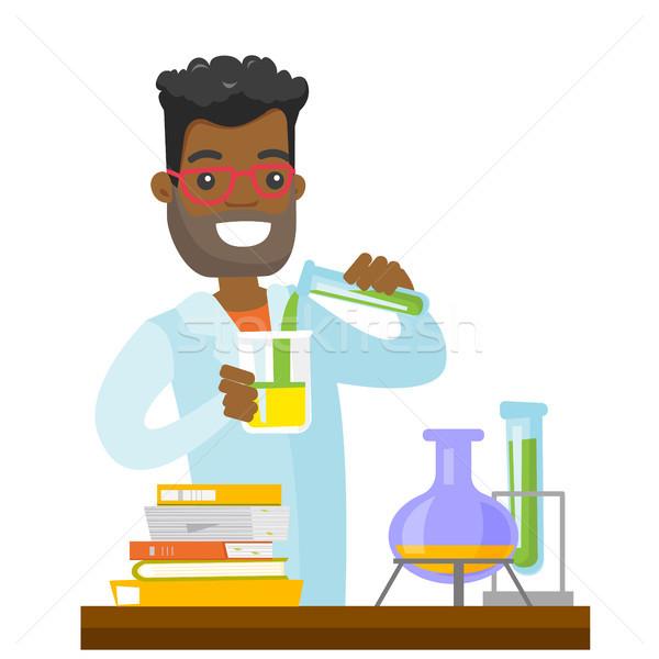 Student eksperyment laboratorium klasy na zewnątrz Zdjęcia stock © RAStudio