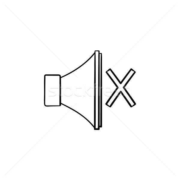 Mute button hand drawn outline doodle icon. Stock photo © RAStudio