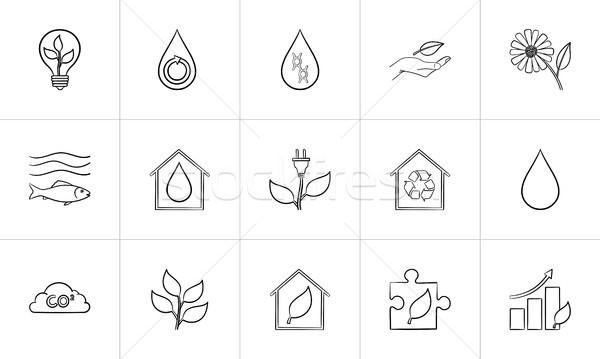 Ecology hand drawn sketch icon set. Stock photo © RAStudio