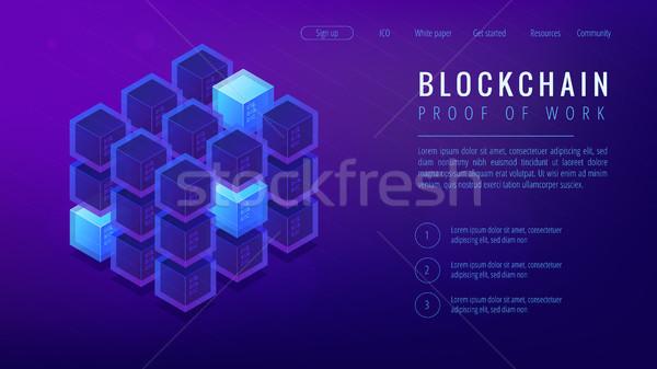 Stockfoto: Isometrische · bewijs · werk · landing · pagina · veiligheid