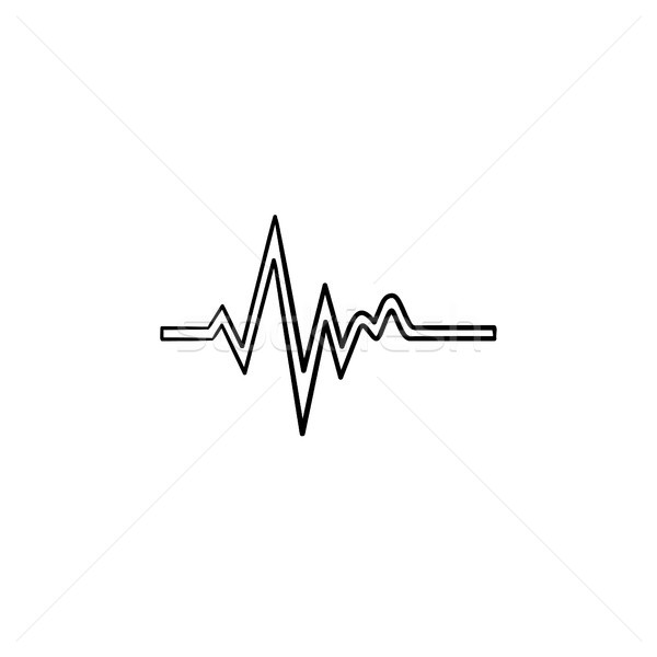 Heatbeat trace on cardiogram hand drawn outline doodle icon. Stock photo © RAStudio