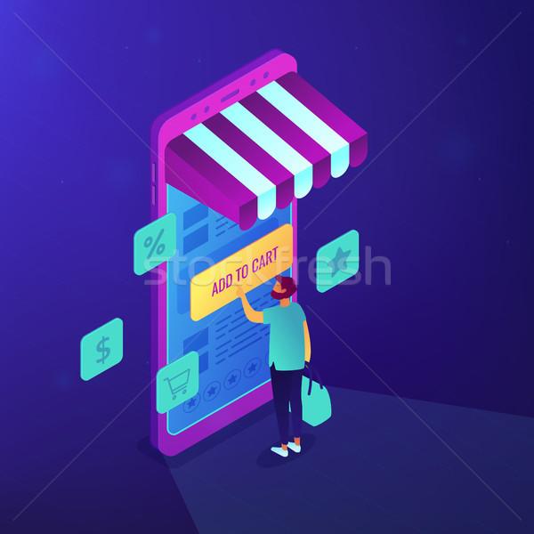 Stock fotó: Izometrikus · mobil · vásárlás · illusztráció · vásárló · mobiltelefon
