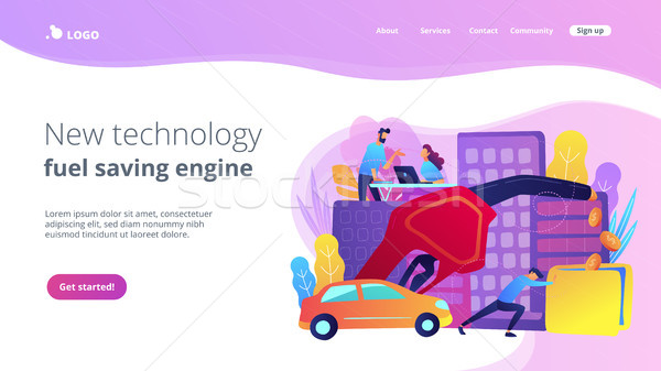 New technology and fuel saving engine landing page. Stock photo © RAStudio