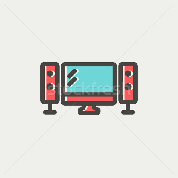 フラットスクリーン スピーカー 薄い 行 アイコン テレビ ストックフォト © RAStudio