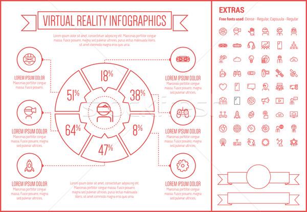 Faktyczny rzeczywistość line projektu szablon Zdjęcia stock © RAStudio