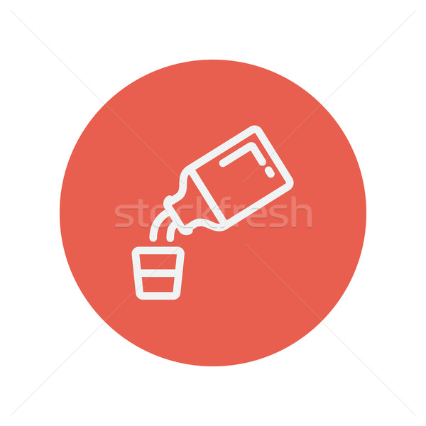 Medicine and measuring cup thin line icon Stock photo © RAStudio