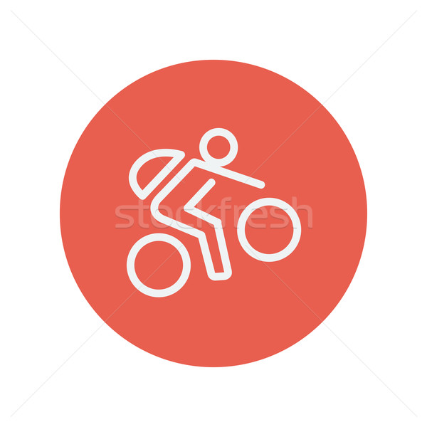 Mountain bike rider thin line icon Stock photo © RAStudio
