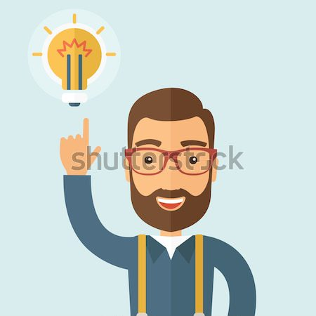 Asian guy having a good idea. Stock photo © RAStudio