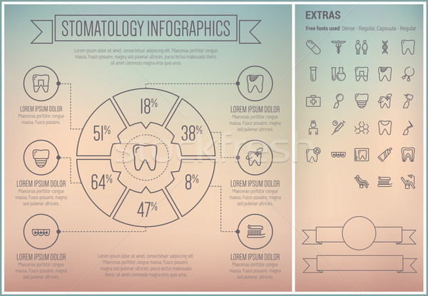 Stomatology Line Design Infographic Template Stock photo © RAStudio
