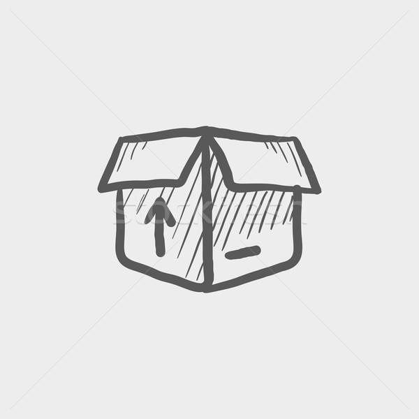 Open box with arrow loading, incoming sketch icon Stock photo © RAStudio