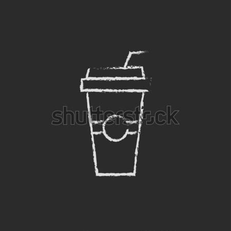 Soda in plastic cup with straw sketch icon Stock photo © RAStudio