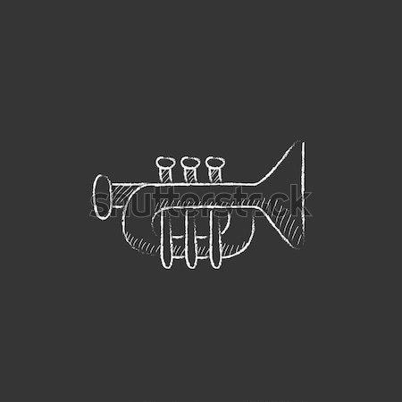 Trumpet icon drawn in chalk. Stock photo © RAStudio