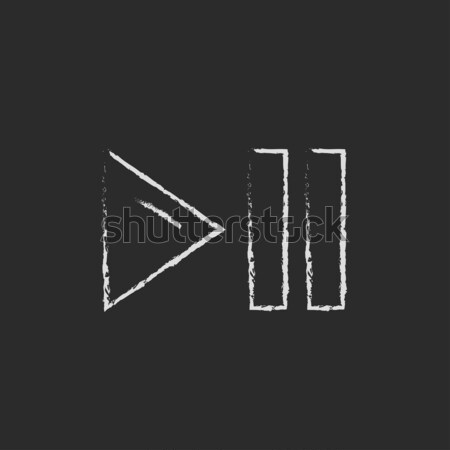 Pause and playback button icon drawn in chalk. Stock photo © RAStudio