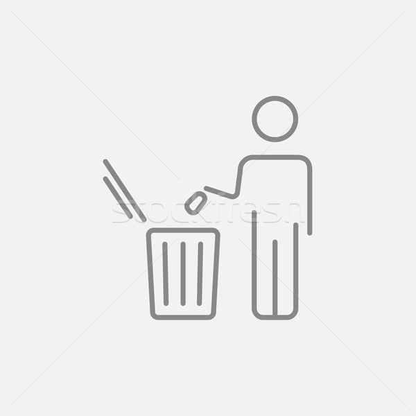 Man throwing garbage in a bin line icon. Stock photo © RAStudio
