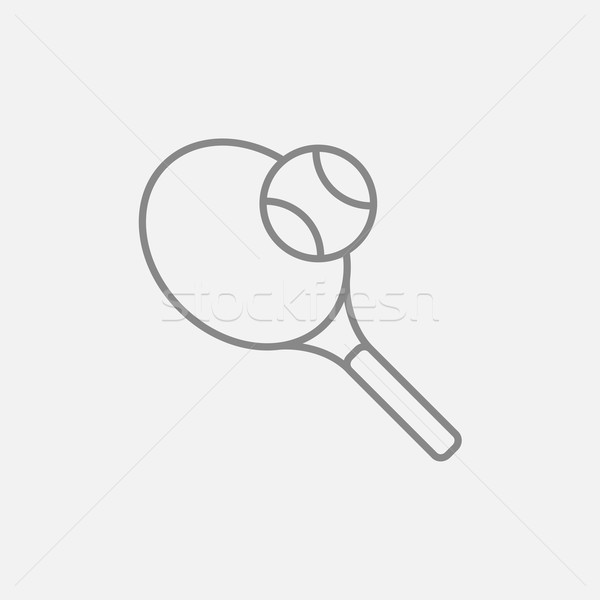 Teniszütő labda vonal ikon háló mobil Stock fotó © RAStudio