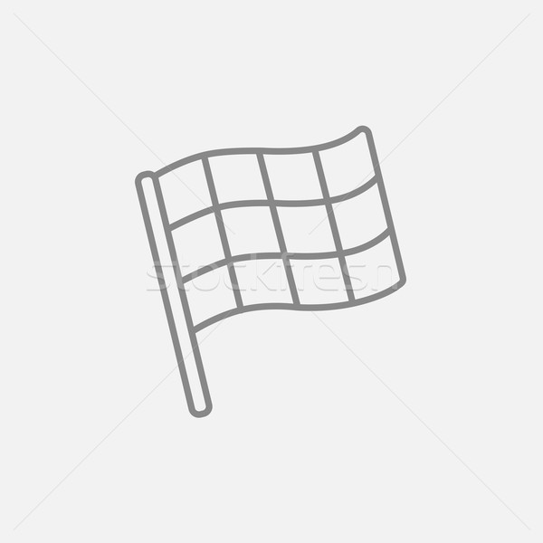 Stock photo: Checkered flag line icon.