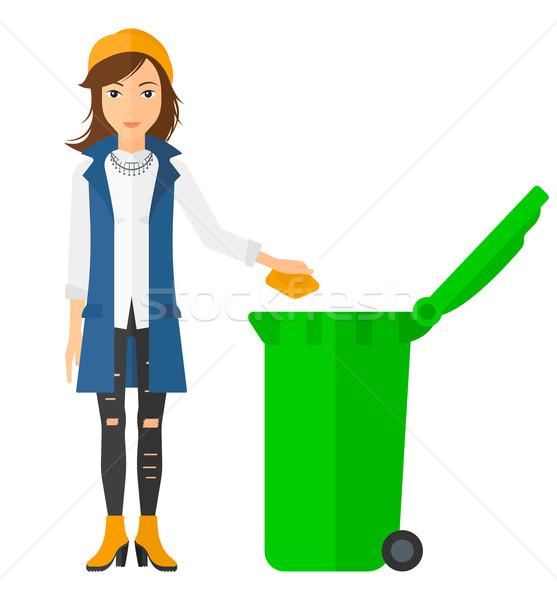 женщину мусор зеленый вектора Сток-фото © RAStudio