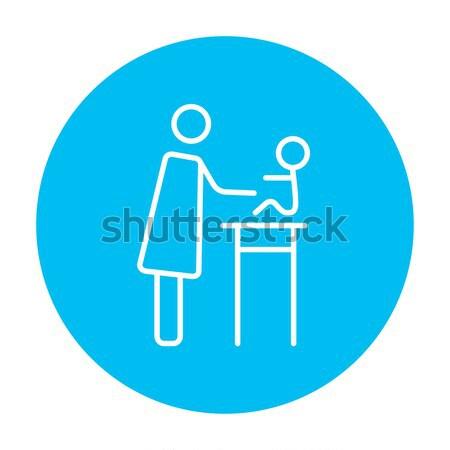 Woman taking care of baby line icon. Stock photo © RAStudio