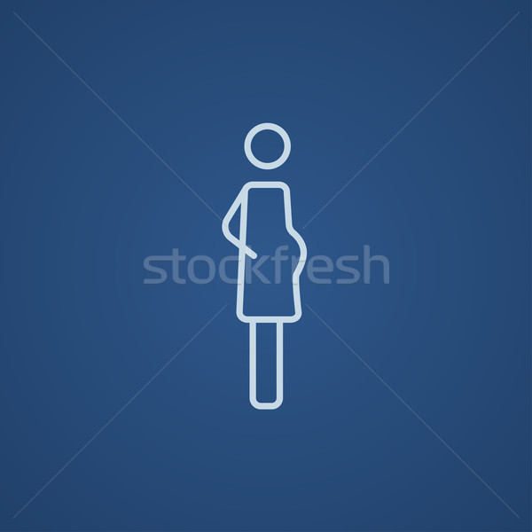 Terhes nő vonal ikon háló mobil infografika Stock fotó © RAStudio