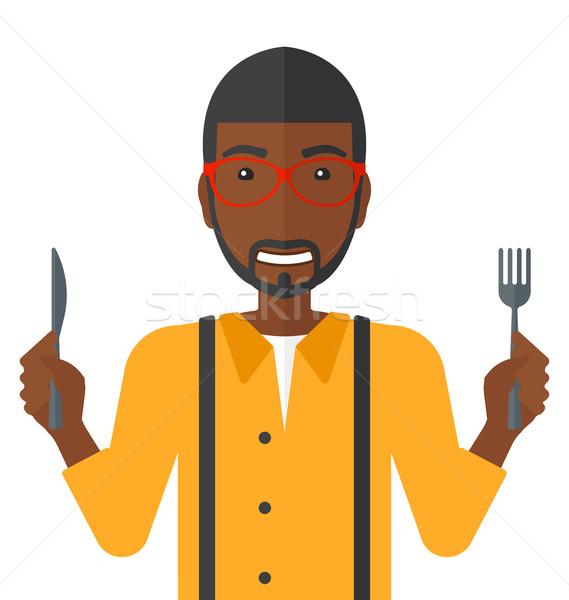 Aç adam bekleme gıda çatal bıçak Stok fotoğraf © RAStudio
