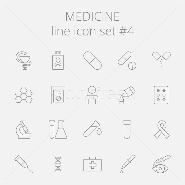 Gyógyszer ikon gyűjtemény vektor sötétszürke ikon izolált Stock fotó © RAStudio