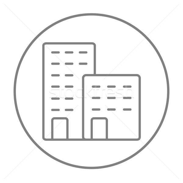 Fábrica línea icono web móviles infografía Foto stock © RAStudio