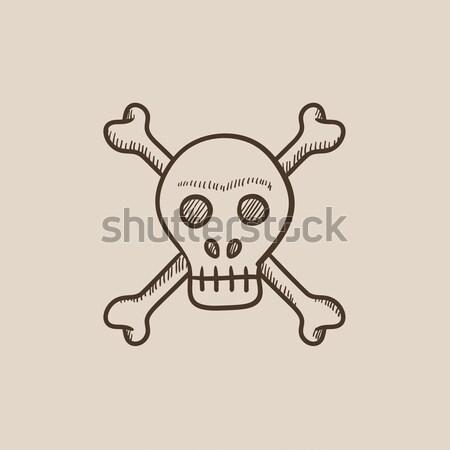 Crânio atravessar ossos linha ícone teia Foto stock © RAStudio