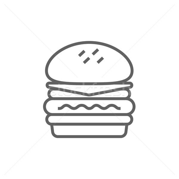 çift Burger hat ikon web hareketli Stok fotoğraf © RAStudio