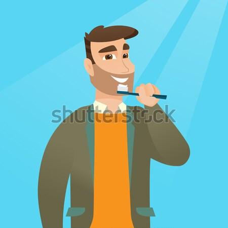 Férfi vegyi öltöny ázsiai fej vektor Stock fotó © RAStudio
