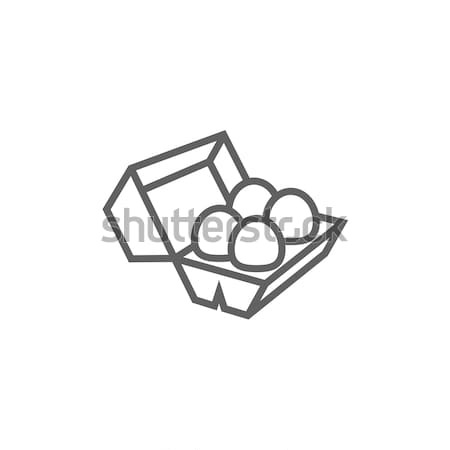 Eggs in carton package line icon. Stock photo © RAStudio
