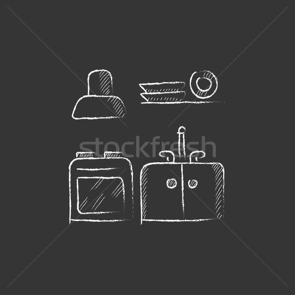Kitchen interior. Drawn in chalk icon. Stock photo © RAStudio