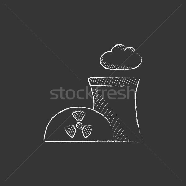 Nuclear power plant. Drawn in chalk icon. Stock photo © RAStudio