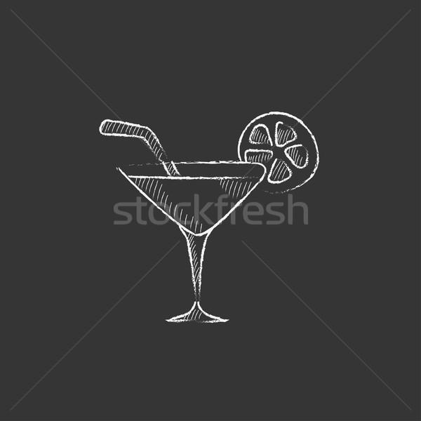 Cocktail glass. Drawn in chalk icon. Stock photo © RAStudio