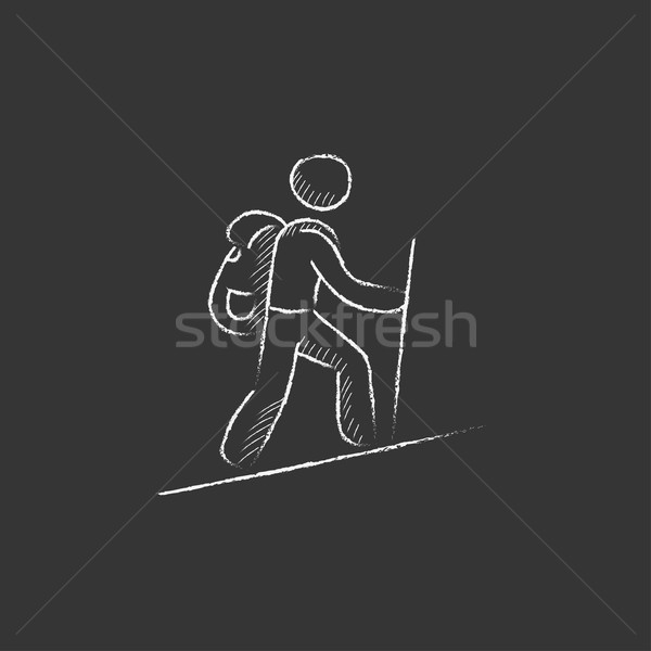 Tourist backpacker. Drawn in chalk icon. Stock photo © RAStudio