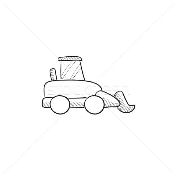 Escavadora esboço ícone vetor isolado Foto stock © RAStudio