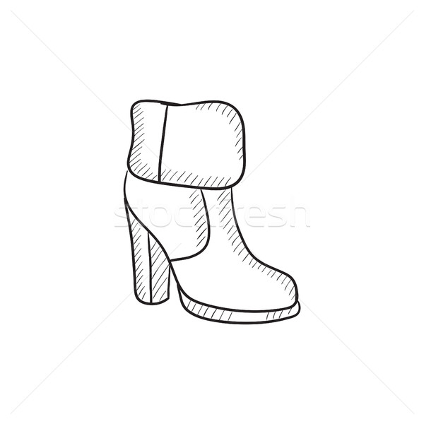 High-heeled ankle boot with fur sketch icon. Stock photo © RAStudio