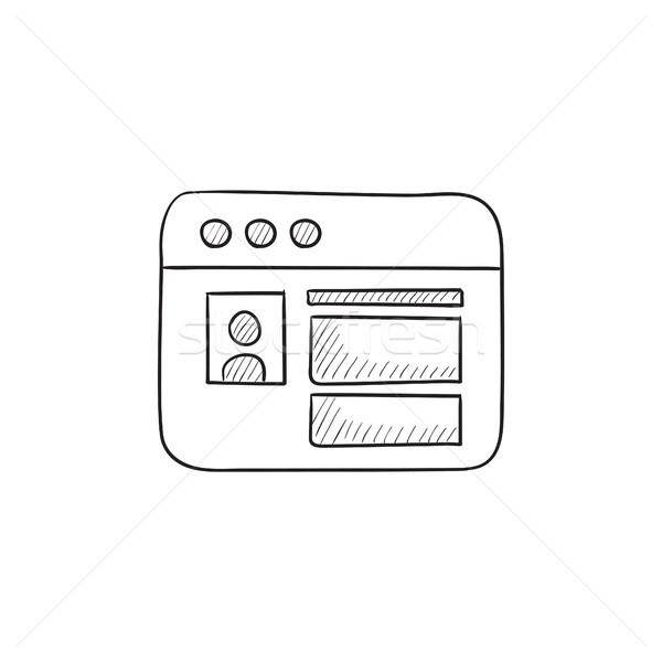 Böngésző ablak oldal rajz ikon közösségi háló Stock fotó © RAStudio
