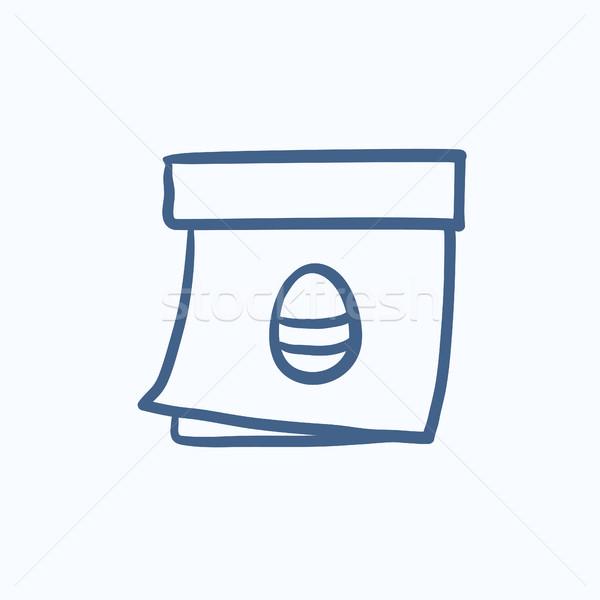 Calendar with Easter egg  sketch icon. Stock photo © RAStudio