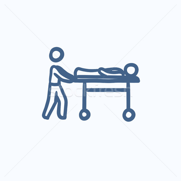 Stock photo: Man pushing stretchers sketch icon.