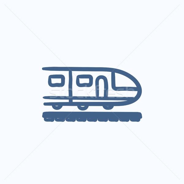 Modernes à grande vitesse train croquis icône vecteur Photo stock © RAStudio