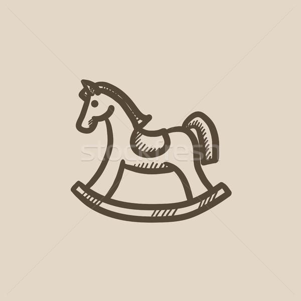 Cheval à bascule croquis icône vecteur isolé dessinés à la main Photo stock © RAStudio