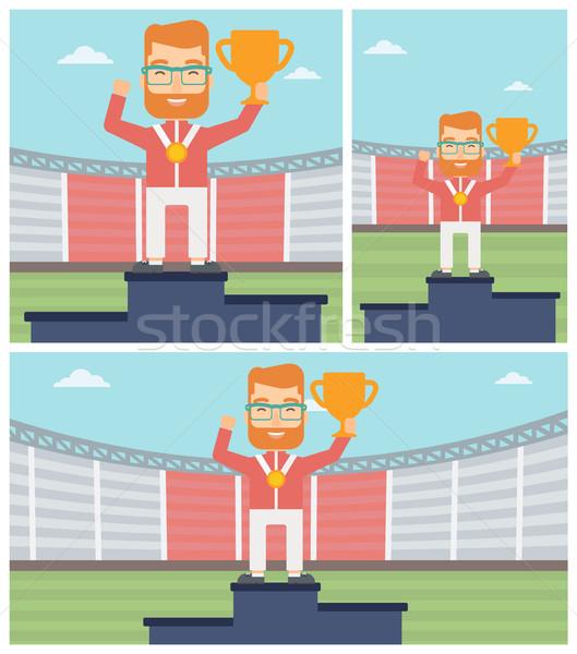 Vieren winnaars podium man gouden medaille Stockfoto © RAStudio