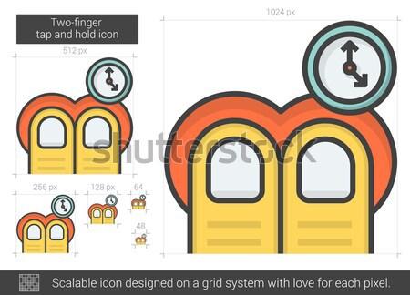 Tippen halten line Symbol Vektor isoliert Stock foto © RAStudio