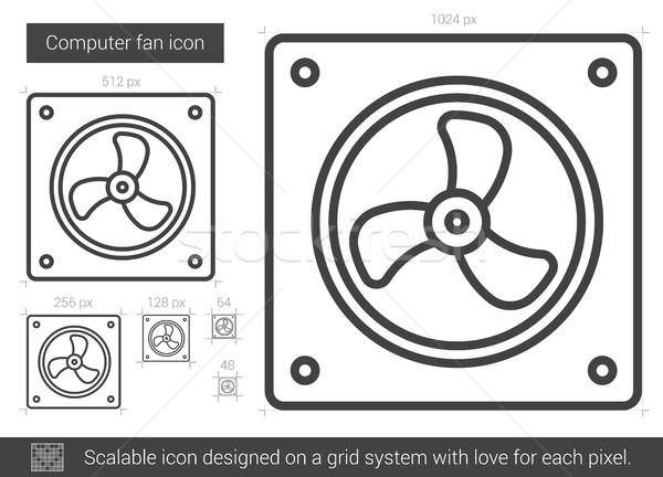 Ordenador ventilador línea icono vector aislado Foto stock © RAStudio