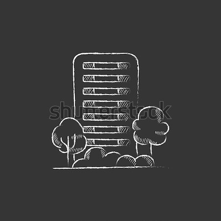 Residential building with trees sketch icon. Stock photo © RAStudio